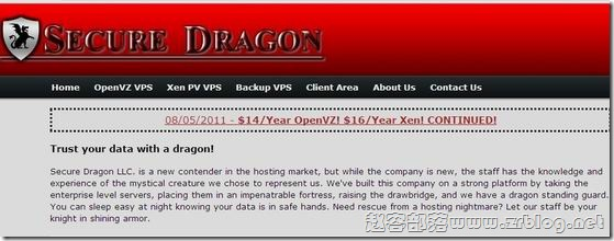 securedragon:便宜VPS-OpenVZ=$14/年 XEN=$16/年