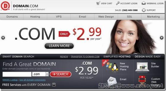 Domain.com:com域名2.99美元/首年