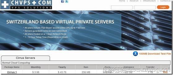 CHVPS:$2.79/月OpenVZ-256MB/512MB/20GB/1TB 瑞士