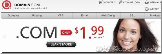 Domain.com:1.99美元/首年.com域名