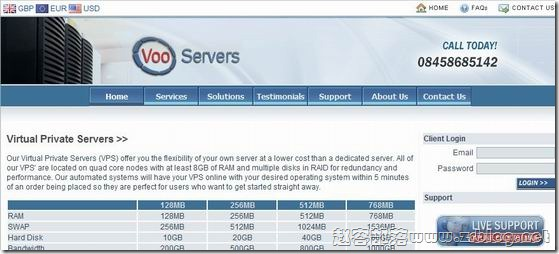 VooServers:£2.7/月OpenVZ-128MB/256MB/10GB/400GB英国