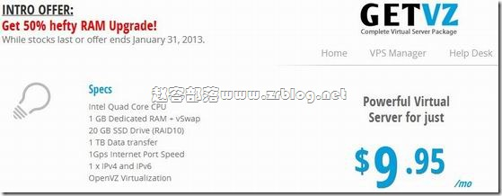 GetVZ:$9.95/月OVZ-1.5GB/20GB SSD/1TB 盐湖城