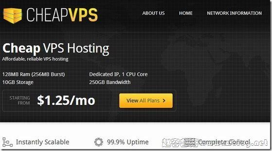 CheapVPSLLC:$7.5/年OpenVZ-128MB/10GB/250GB 圣何塞