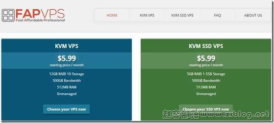 FAPVPS:$4.19/月KVM-512MB/12GB/500GB 北卡