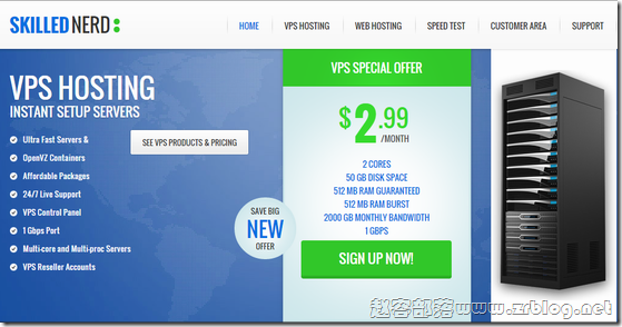 SkilledNerd:$2.99/月OpenVZ-512MB/50GB/2TB 北卡