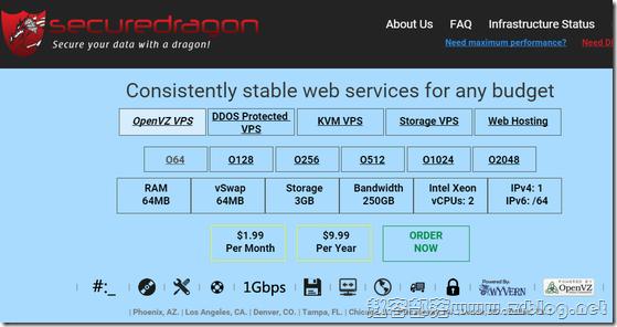SecureDragon:$2.99/月OpenVZ-512MB/250GB/10TB/坦帕