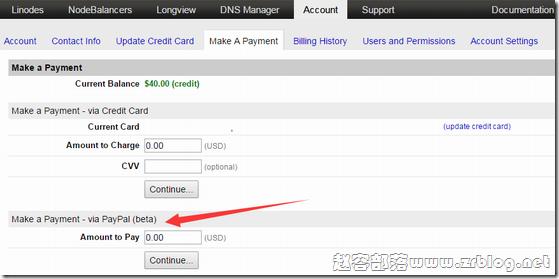 Linode支持PayPal付款