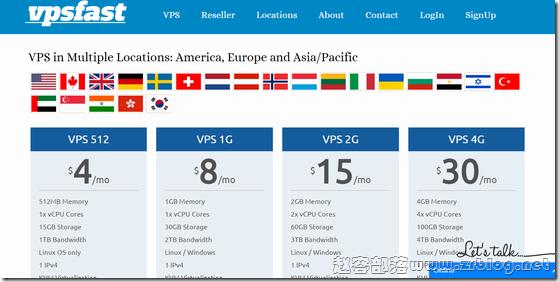 VPSfast:$4/月KVM-512MB/15GB/1TB 30个机房
