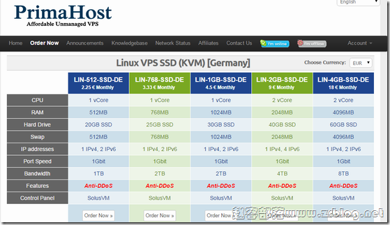 PrimaHost:$2.5/月KVM-512MB/20G SSD/1TB 德国&法国