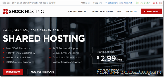 ShockHosting五折/KVM主机大硬盘/支持支付宝微信付款