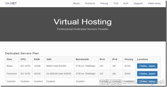 [服务器]VH.NET:$99.5/首月-E3 1270/16GB/800G SSD/5TB 日本(含使用及测试)