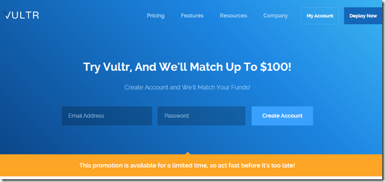 VULTR磁盘再升级/KVM/16机房/按小时计费/支持支付宝微信