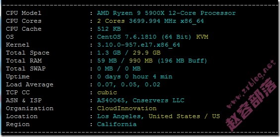 80VPS新平台洛杉矶Cera机房(联通CUVIP线路)KVM简单测试