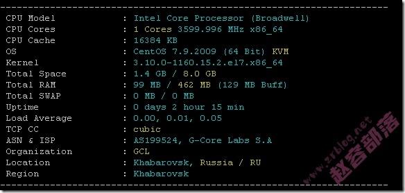 Gcore(gcorelabs)俄罗斯伯力VPS简单测试