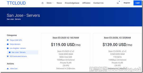 TTCLOUD:圣何塞高防服务器$59/月,双E5-2620v2/16GB/500G SSD/100M不限流量