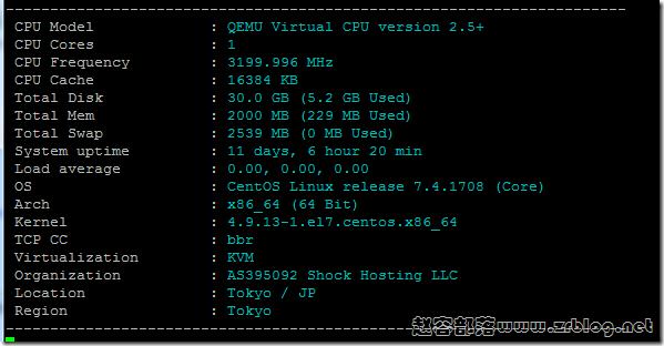ShockHosting日本机房VPS简单测试